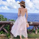 吊帶長裙沙灘裙超仙普吉島泰國海邊度假露背連身裙仙女裙chic溫柔