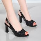 夏季網紗鏤空涼鞋女粗跟魚嘴鞋女士高跟鞋女