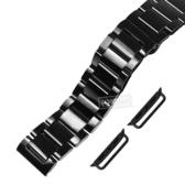 Apple Watch / 38.40.42.44mm / 蘋果手錶替用錶帶 亮光色澤 蝴蝶雙壓扣不鏽鋼錶帶 鍍黑 #836-41-SBK