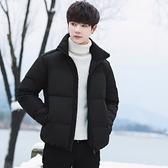 羽絨夾克-立領黑色短款加厚保暖男外套73un22【巴黎精品】
