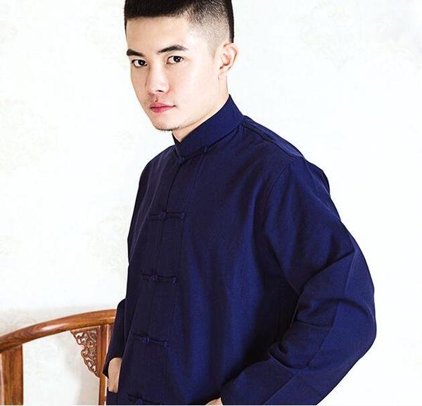 現貨出清純棉太極襯衫男唐裝漢服男士長袖居士服中式立領中國風打底衫 男爵公館