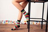 Caramella 日系彩虹波浪條紋中筒襪 短襪子春夏穿搭必備
