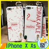 【大發】iPhone X Xs 手機殼 紅鶴 羽毛 掛繩軟殼 可愛 軟殼 防摔掛繩軟殼 全包防摔軟殼 掛繩手機殼