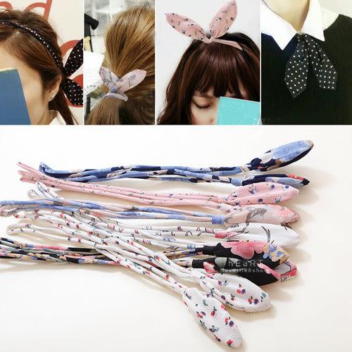 絹紗碎花蝴蝶結雙層髮帶 髮飾 髮箍 髮繩 鐵絲髮帶