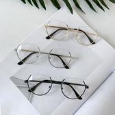 韓國小清新平光鏡不規則金屬細鏡框潮女百搭顯瘦圓形文藝眼鏡框架