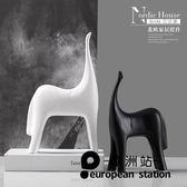 擺件/北歐家居簡約陶瓷創意家居裝飾品黑白馬【歐洲站】