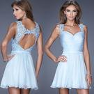 藍色露背蕾絲雪紡短款婚紗伴娘裝晚宴年會小禮服 2396