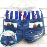【韓版童裝】超彈力藍白條紋小耳朵口袋牛仔短褲/熱褲-藍【BB160220006】