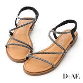 D+AF 閃耀假期.燙鑽細帶繫踝平底涼鞋*黑