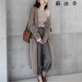 針織外套女 新款秋季長袖寬鬆中長款針織衫