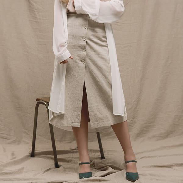 AIR SPACE LADY 中大尺碼 率性前開衩排扣長裙 2色