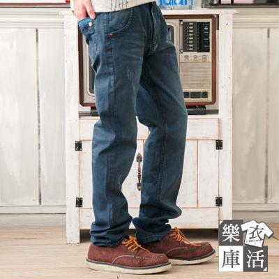牛仔褲★日系刷色抓痕造型口袋單寧中直筒褲● 樂活衣庫【7082】