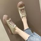 半拖鞋 韓版原宿風帆布鞋女2020夏學生厚底百搭無后跟懶人包頭半拖穆勒鞋-完美