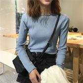 針織上衣 修身短款長袖T恤寬松純色學生上衣百搭顯瘦打底衫 巴黎春天