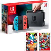 任天堂Switch主機同捆組 - 紅藍 + 1-2-Switch +超級瑪利歐奧德賽【台灣公司貨】【愛買】