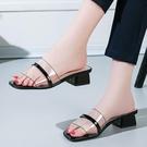 韓版百搭涼拖鞋女2020夏季新款透明一字型拖鞋時尚外穿粗跟女鞋潮 降價兩天