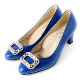 DeSire 耀眼迷人尖頭方鑽釦高跟鞋  藍