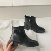 靴子女短靴秋冬季新款韓版CHIC百搭英倫風粗跟女鞋瘦瘦馬丁靴 原本良品