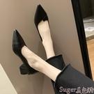 尖頭鞋女鞋2020新款春季淺口尖頭女士中粗跟單鞋網紅兩穿黑色職業工作鞋 suger