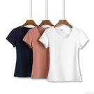夏裝短款純白色t恤女短袖修身半袖2020年新款純棉上衣t桖打底衫潮 怦然心動