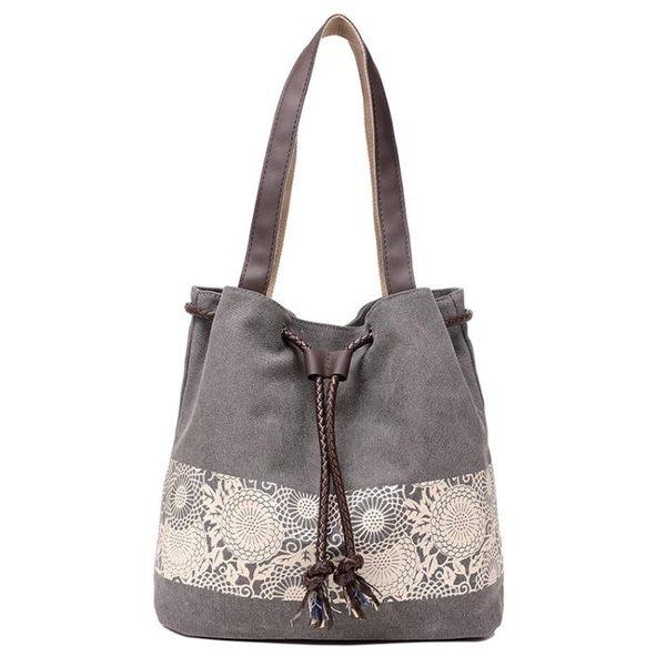 側背包 韓版托特帆布包 印花復古休閒手提包《小師妹》f511