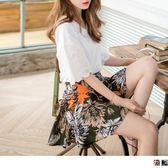 OrangeBear《BA3155》高含棉滿版印花後腰圍鬆緊下襬打褶側拉鍊短版褲裙.2色--適 2L~6L