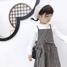 童裝 韓版 格紋 吊帶裙 背帶裙 長裙