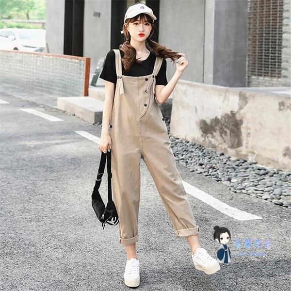 連身工裝 工裝背帶褲女夏韓版寬鬆減齡氣質套裝薄款休閒寬管直筒吊帶連身褲T