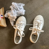 小白鞋女潮高筒帆布鞋子休閒百搭韓版板鞋【繁星小鎮】