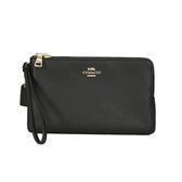 COACH 荔枝皮革金屬馬車雙拉鍊多卡片大型手拿包(黑色)
