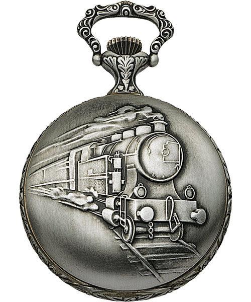 AEROWATCH Savonnettes 蒸汽火車復刻懷錶-銀/51mm A55668AG01