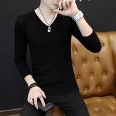 男士毛衣V領春秋薄款打底針織衫韓版修身純色內搭秋季潮流男線衣-ifashion