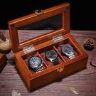 手錶盒 雅式三格手錶盒木質玻璃天窗錶盒子裝手串鏈展示箱收藏收納首飾盒 mks薇薇