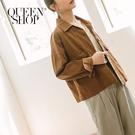 Queen Shop【02071141】休閒素色雙口袋排釦造型外套 兩色售*現+預*