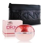DKNY Be Tempted 怦然女性淡香精(100ml)+經典化妝包-粉紅蘋果
