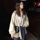 初春女裝韓版中長款復古港風工裝BF風寬鬆學生長袖開衫上衣外套潮