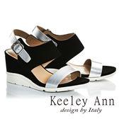 ★零碼出清★Keeley Ann韓式風潮~金屬質感真皮楔形高跟涼鞋(黑色)-Ann系列