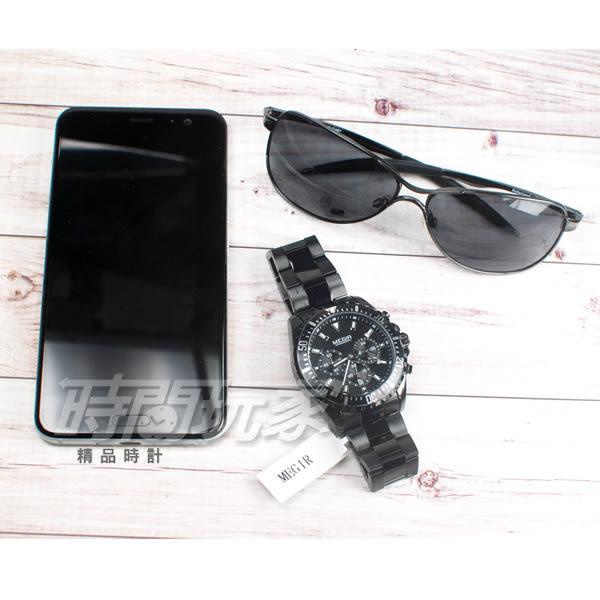 MEGIR 王者風範 大錶徑真三眼時尚男錶 防水手錶 日期顯示 合金錶帶 IP黑電鍍 ME2064槍黑