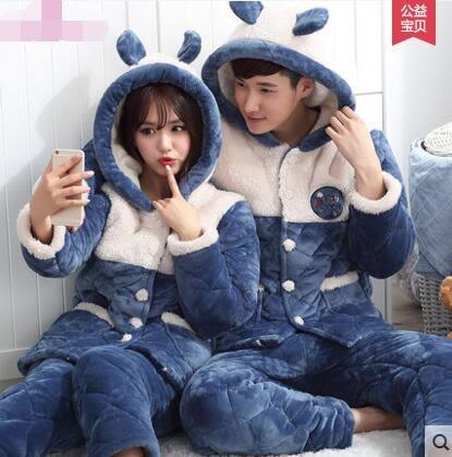 熊孩子ஐ情侶睡衣男女士冬季珊瑚絨法蘭絨三層夾棉保暖加厚可愛外穿家居服(藍色801-802)