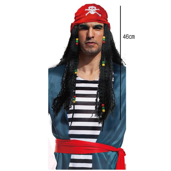 加勒比海盜假髮,萬聖節/服裝/造型假髮/角色扮演/化妝舞會/表演/話劇,X射線【W280517】