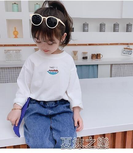 女童上衣T恤 女童t恤秋裝新款韓版洋氣兒童寶寶季上衣長袖打底衫 快速出货
