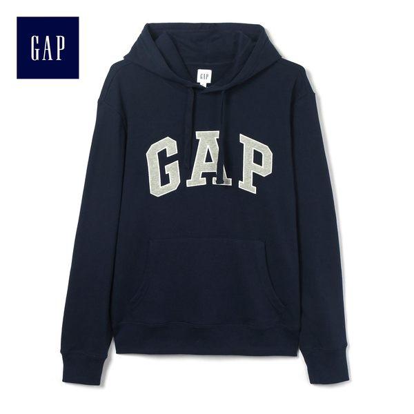 Gap男裝 Logo連帽套頭長袖休閒上衣 443922-海軍藍