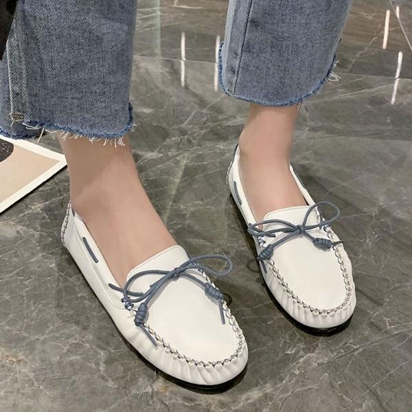 豆豆鞋.MIT日系清新百搭撞色蝴蝶結平底樂福包鞋.白鳥麗子