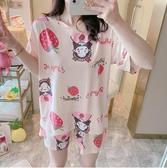 睡衣女夏季短袖薄款寬鬆兩件套裝韓版學生可愛大碼少女夏天家居服 滿天星