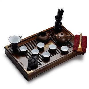 純天然紫砂茶具配木制茶盤 精致細巧(15件套)