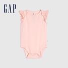 Gap嬰兒 布萊納系列 純棉荷葉邊短袖包屁衣 681651-粉色