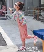 女童吊帶褲 女童秋裝套裝2019新款童裝兒童衣服洋氣韓版吊帶褲春秋時尚兩件套