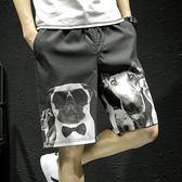 2018夏季小狗印花休閒褲短褲男士大碼寬鬆沙灘五分褲韓版潮流男褲 溫暖享家