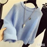 霧霾藍純色長袖毛衣女裝套頭寬鬆新款韓版圓領慵懶風短款百搭學生針織衫 DR31495【美好時光】