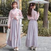 漢服女日常改良古裝交領襦裙中國風學生仙女套裝古風清新淡雅秋冬 千惠衣屋